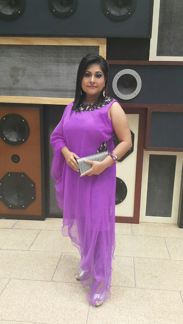 Bold and beautiful celebrity Nirvadha plays it in purple